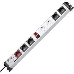 Zásuvková lišta Kopp s 2 spínačmi, 7 zásuviek, strieborná