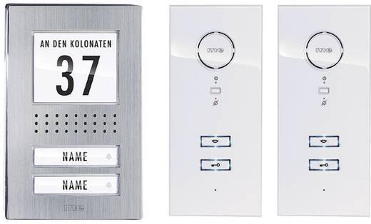m-e modern-electronics Vistadoor ADV 122 WW Türsprechanlage Kabelgebunden Komplett-Set 2 Familienhaus Edelstahl, Weiß