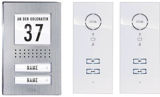 Türsprechanlage Kabelgebunden Komplett-Set m-e modern-electronics ADV 122 WW 2 Familienhaus Edelstahl, Weiß