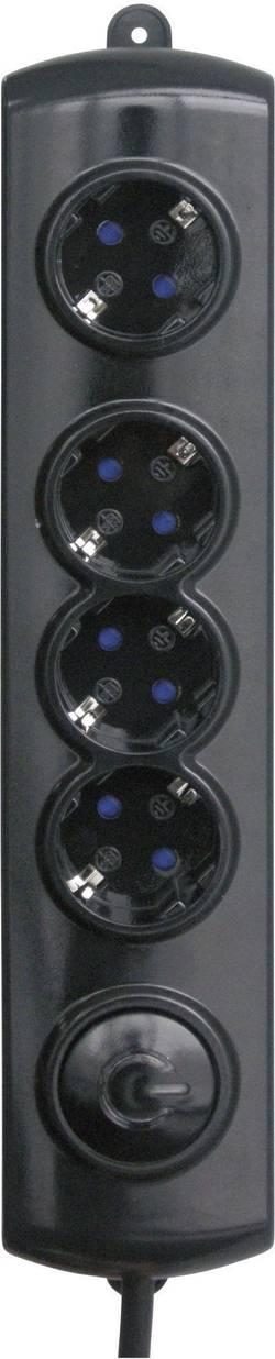 Zásuvková lišta GAO s nožním spínačem, 4 zásuvky, černá