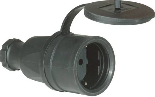 Schutzkontaktkupplung Vollgummi 230 V Schwarz IP44 PCE 2521-s