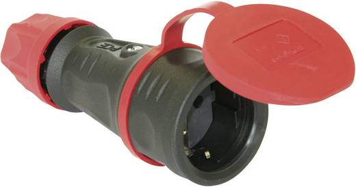 Schutzkontaktkupplung Gummi 230 V Schwarz IP44 PCE 25621-s