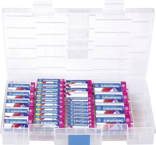 Alkaline-Batterien-Box 10 x Mignon, 8 x Micro, 5 x Baby, 4 x Mono und 2 x 9 V-Block