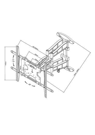 "TV-Wandhalterung 81,3 cm (32"") - 152,4 cm (60"") Neigbar+Schwenkbar, Rotierbar NewStar Products LED-W550"