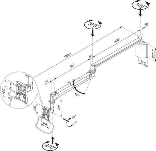 """Monitor-Wandhalterung für den medizinischen Arbeitsbereich 25,4 cm (10"""") - 61,0 cm (24"""") Neigbar+Schwenkbar NewStar Products FPMA-HAW100 Ausziehbar"""