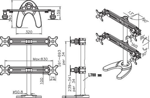 """2fach Monitor-Tischhalterung 48,3 cm (19"""") - 76,2 cm (30"""") Neigbar+Schwenkbar, Rotierbar NewStar Products FPMA-D700D Höhenverstellbar"""