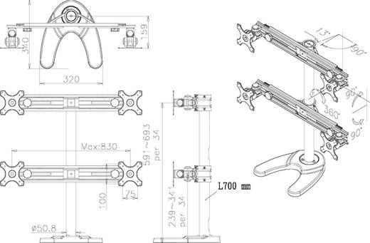"4fach Monitor-Standfuß 48,3 cm (19"") - 76,2 cm (30"") Neigbar+Schwenkbar, Rotierbar NewStar Products FPMA-D700DD4 Höhenve"