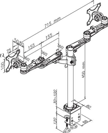 """2fach Monitor-Tischhalterung 25,4 cm (10"""") - 68,6 cm (27"""") Neigbar+Schwenkbar, Rotierbar NewStar Products FPMA-D935D Höhenverstellbar"""