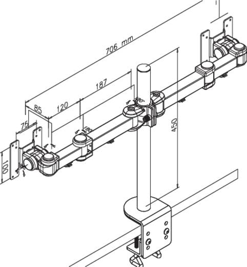 """2fach Monitor-Tischhalterung 25,4 cm (10"""") - 68,6 cm (27"""") Neigbar+Schwenkbar, Rotierbar NewStar Products FPMA-D960D Ausziehbar"""