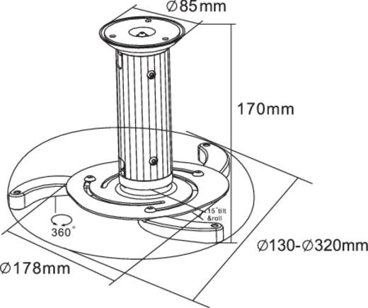 Beamer-Deckenhalterung Neigbar, Drehbar Boden-/Deckenabstand (max.): 15 cm NewStar Products BEAMER-C80WHITE Weiß