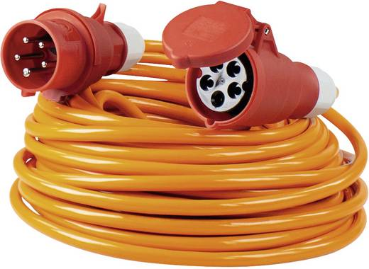 Strom Verlängerungskabel [ CEE-Stecker - CEE-Kupplung] 32 A Orange 10 m mit Phasenwender as - Schwabe 59646