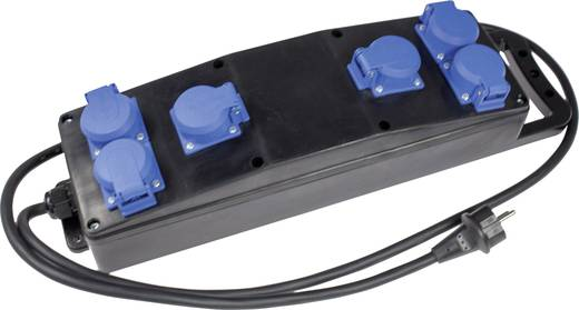 Steckdosenleiste ohne Schalter 6fach Schwarz, Blau Schutzkontakt as - Schwabe 60556