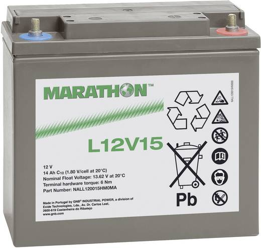 Bleiakku 12 V 14 Ah GNB Marathon L12V15 NALL120015HM0MA Blei-Vlies (AGM) (B x H x T) 181 x 167 x 76 mm M6-Schraubanschlu