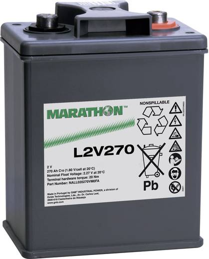 Bleiakku 2 V 270 Ah GNB Marathon L2V270 NALL020270HM0FA Blei-Vlies (AGM) (B x H x T) 209 x 265 x 136 mm M8-Schraubanschluss Wartungsfrei