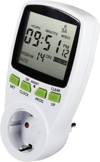 618495 Steckdosen-Zeitschaltuhr digital Wochenprogramm 3680 W IP20 Countdown-Funktion, Zufallsfunktion