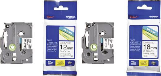 Schriftband 2er Set Brother TZe TZe-241 + TZe-231 Bandfarbe: Weiß Schriftfarbe:Schwarz 12 mm, 18 mm 8 m