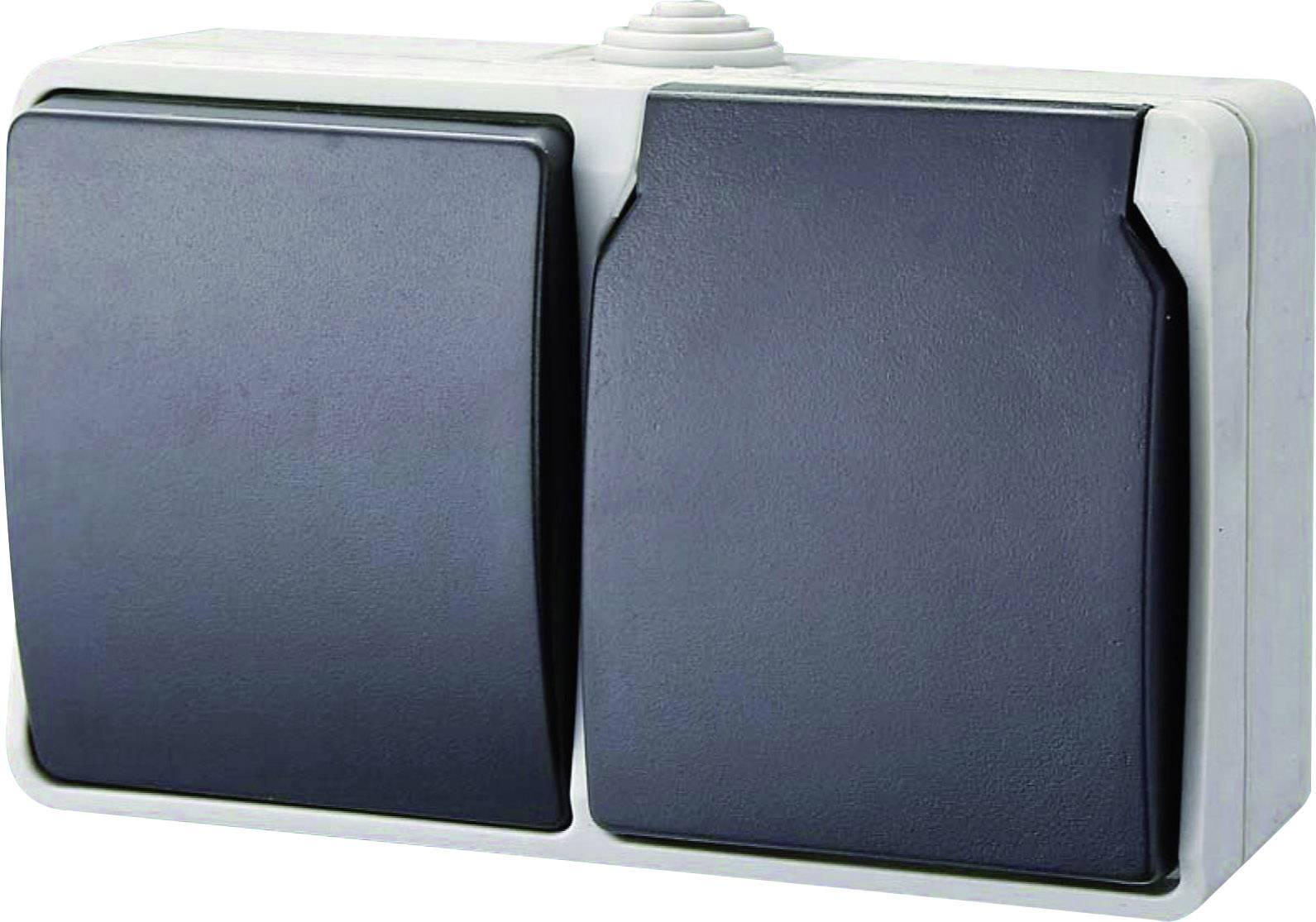 GAO Wechselschalter Ausschalter Schalter Steckdosen IP54 Standard Grau