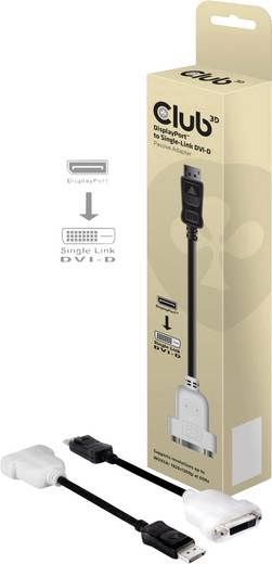 DisplayPort / DVI Adapter [1x DisplayPort Stecker - 1x DVI-Buchse 24+1pol.] Schwarz club3D