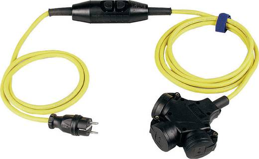 Strom Verlängerungskabel [ Schutzkontakt-Gummi-Stecker - Hänge-Kupplung] 16 A Gelb, Schwarz 4.50 m mit PRCD SIROX 344.8