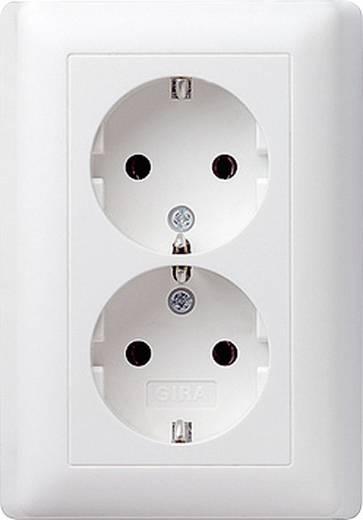 GIRA Einsatz Doppelsteckdose System 55, Standard 55, E2, Event, Event Klar, Event Opak, Esprit, ClassiX Sauber-Weiß (glänzend) 078003