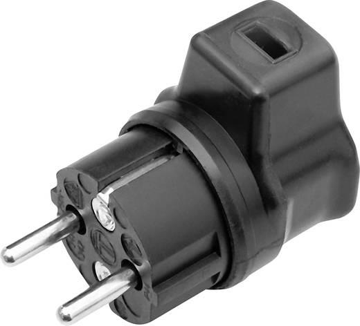 Schutzkontakt-Winkelstecker Gummi für Lichterketten-Flachkabel 230 V Schwarz