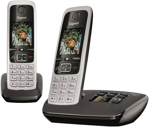Schnurloses Telefon analog Gigaset C430A Duo schwarz Anrufbeantworter, Headsetanschluss, Babyphone, Freisprechen Silber,