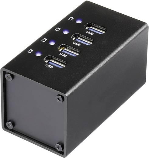 Renkforce RF-UH-A4 4 Port USB 3.0-Hub mit Aluminiumgehäuse Schwarz