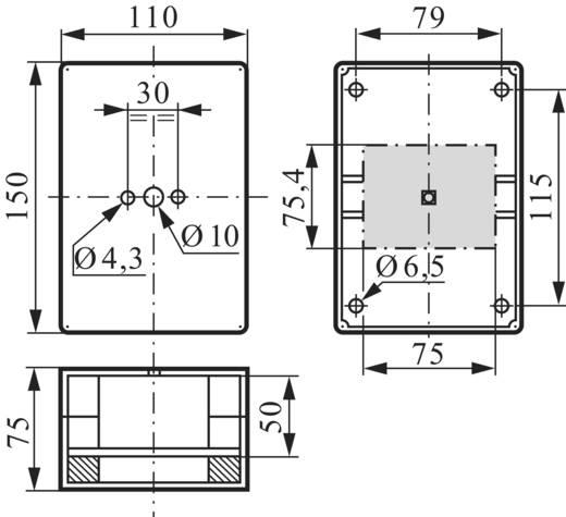 Leergehäuse (B x H x T) 75 x 150 x 75 mm unbeschriftet Grau BACO BA172549 1 St.