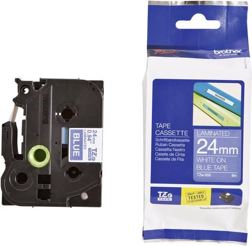 Schriftband Brother TZe TZe-555 Bandfarbe: Blau Schriftfarbe:Weiß 24 mm 8 m