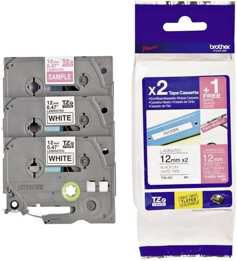 Schriftband 3er Set Brother TZe TZe-32M3 Bandfarbe: Weiß, Pink Schriftfarbe:Schwarz, Weiß 12 mm 8 m