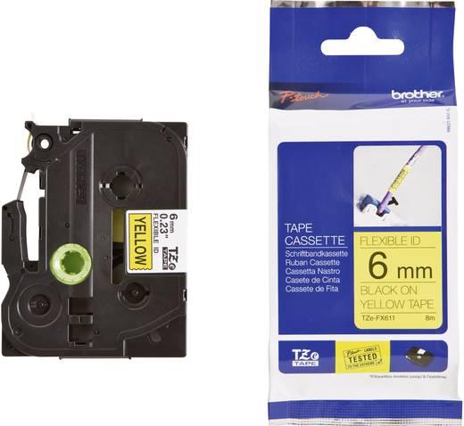 Schriftband Flexibel Brother TZe-FX TZe-FX611 Bandfarbe: Gelb Schriftfarbe:Schwarz 6 mm 8 m