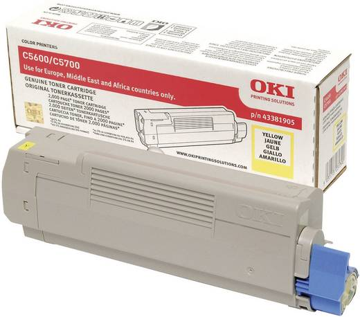 OKI Toner C5600 C5700 43381905 Original Gelb 2000 Seiten
