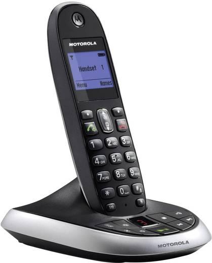 Schnurloses Telefon analog Motorola C2011B Anrufbeantworter, Freisprechen Schwarz, Silber