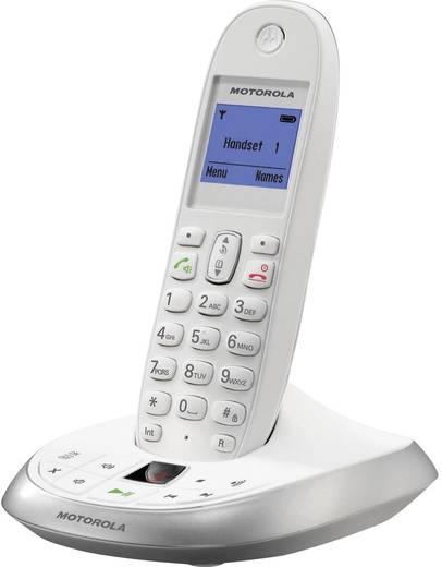 Schnurloses Telefon analog Motorola C2011W Anrufbeantworter, Freisprechen Weiß, Silber