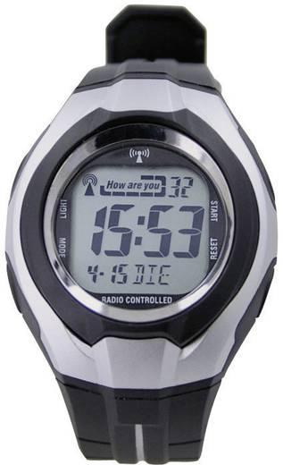 Funk Armbanduhr 640559 (Ø x H) 41 mm x 16 mm Schwarz, Silber Gehäusematerial=Kunststoff Material (Armband)=Kunststoff