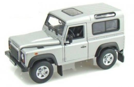 1:24 Modellauto Welly Landrover Defender argent 1:24