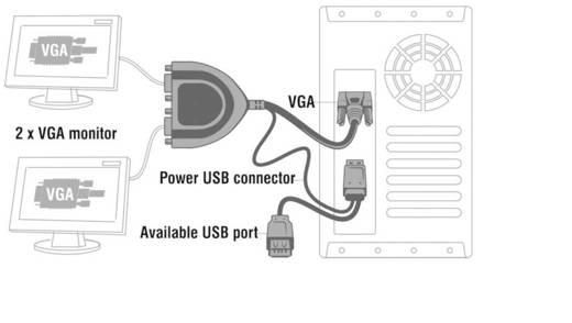 2 Port VGA-Splitter Delock 61968 2048 x 1536 Pixel Schwarz