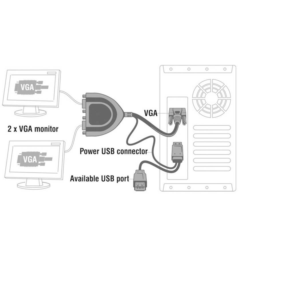 Delock 61968 2 Port Vga Splitter 2048 X 1536 Pixel Schwarz Im Conrad Converter Spliter