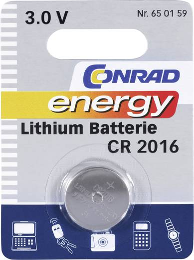 Knopfzelle CR 2016 Lithium Conrad energy CR2016 70 mAh 3 V 1 St.