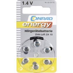 Knoflíková baterie Conrad energy ZA10, zinek/vzduch, 90 mAh, 1,4 V, 6 ks