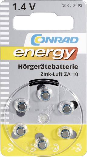 Knopfzelle ZA 10 Zink-Luft Conrad energy PR70 Hörgerätebatterie 90 mAh 1.4 V 6 St.