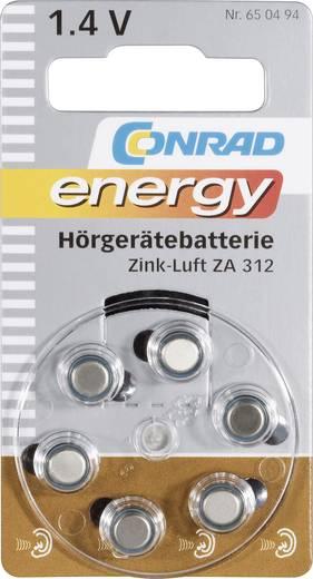 Knopfzelle ZA 312 Zink-Luft Conrad energy PR41 Hörgerätebatterie 160 mAh 1.4 V 6 St.