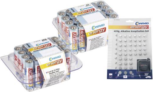 Conrad energy Vorteilsset mit Micro-Batterien 24er, Mignon-Batterien 24er und 42-teiligen Knopfzellenset