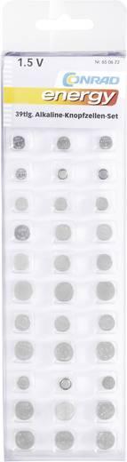 Conrad energy Knopfzellen-Set je 3 x AG 1 (6,8 x 2,1 mm), AG 2 (7,9 x 2,6 mm), AG 3 (7,9 x 3,6 mm), AG 4 (6,7 x 2,4 mm),