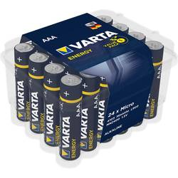 Mikrotužková batérie typu AAA alkalicko-mangánová Varta Energy LR03, 1.5 V, 24 ks