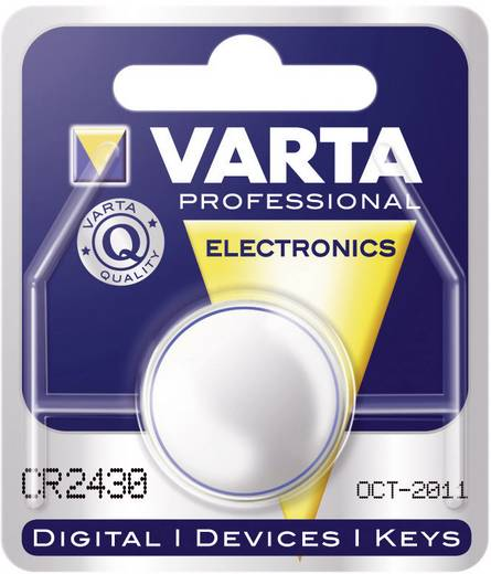 Knopfzelle CR 2430 Lithium Varta Professional Electronics CR2430 280 mAh 3 V 1 St.