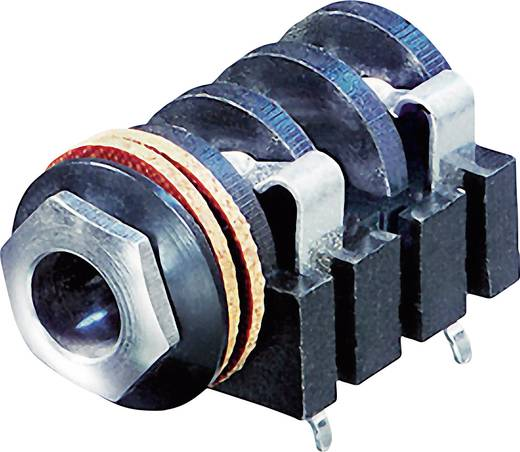 Klinken-Steckverbinder 6.35 mm Buchse, Einbau horizontal Polzahl: 2 Mono Schwarz Rean AV NYS2152 1 St.