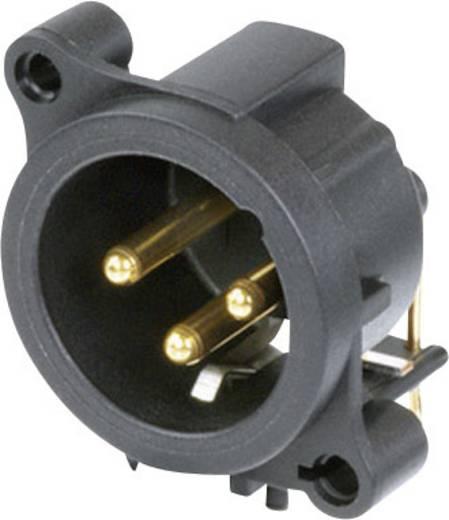 XLR-Steckverbinder Flanschstecker, Kontakte gewinkelt Polzahl: 3 Schwarz Neutrik NC3MAAH 1 St.