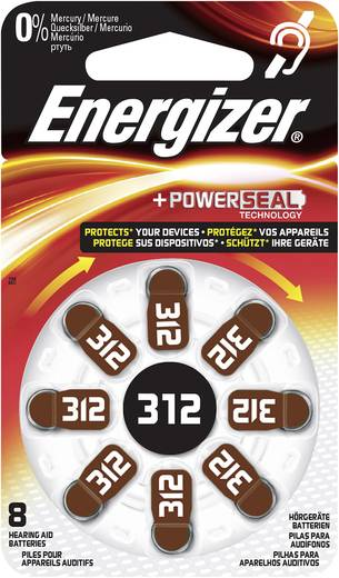 Knopfzelle ZA 312 Zink-Luft Energizer Pile pour appareils auditifs PR41 160 mAh 1.4 V 8 St.