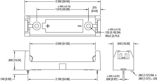 Batteriehalter 1x Mignon (AA) Durchsteckmontage THT (L x B x H) 59 x 16 x 15 mm Keystone 1028